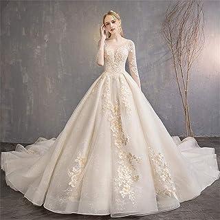 Snygg enkelhet bröllopsklänningar för kvinnor brudklänningar blommig brud spets aftonklänning v-hals remmar golvlängd bröl...