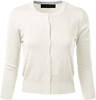 FLORIA Women's Crew Neck Button Down 3/4 Sleeve Stretchy Knit Cardigan Sweater (S-L)