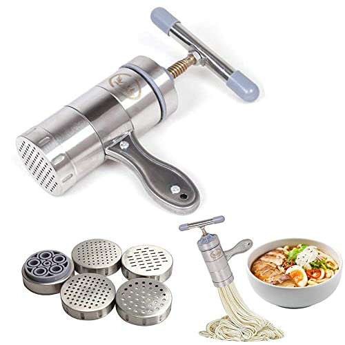 Stainless Steel Pasta Noodle Maker Vegetable Fruit Juicer Press Rigatoni Gramflour Noodles Rice Noodles Machine Inspired Kitchen Tool (1 x Maker + 5 x Mold)