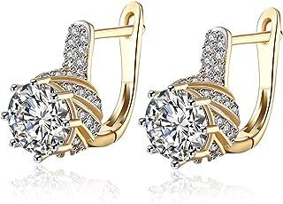 Orecchini regalo per lei,Orecchini a bottone da Donna, placcato in oro, zirconi cubici per le donne con cristalli e cerchi...