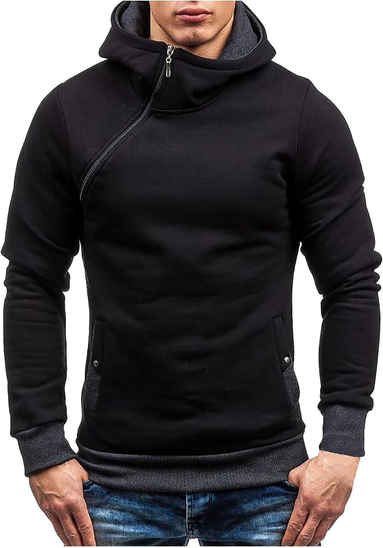 CofeeMO Bravetoshop Hoodies for Men, Men's Patchwork Zip Casual Workout Athletic Pullover Hooded Sweatshirt Outerwear