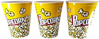 perpetual bliss reusable and washable food box theater style popcorn tubs bowl medium plastic container bucket (pack of ...