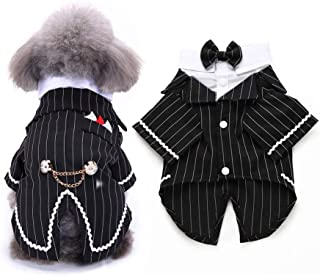 FLAdorepet Gentleman Dog Shirt Puppy Pet Small Dog Clothes,Pet Suit Bow Tie Costume, Cat Wedding Shirt Formal Tuxedo with Black Tie, Dog Prince Wedding Bow Tie Suit