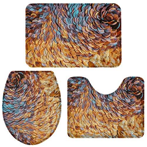 JONINOT W40cm x L60cm 3 Piezas Alfombra De Ducha Almohadilla Playa de Escamas de Pescado Absorbentes Protector Antideslizante Impermeable Estera