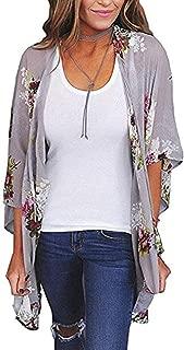 Women's Beach Cover Up Floral Print Chiffon Summer Swimwear Kimono Cardigan