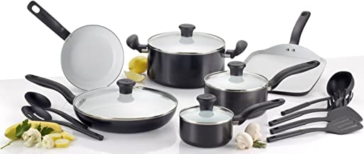 T-fal C921SG Initiatives Nonstick Ceramic Coating PTFE PFOA and Cadmium Free Scratch Resistant Dishwasher Safe Oven Safe Cookware Set, 16-Piece, Black - 2100082346