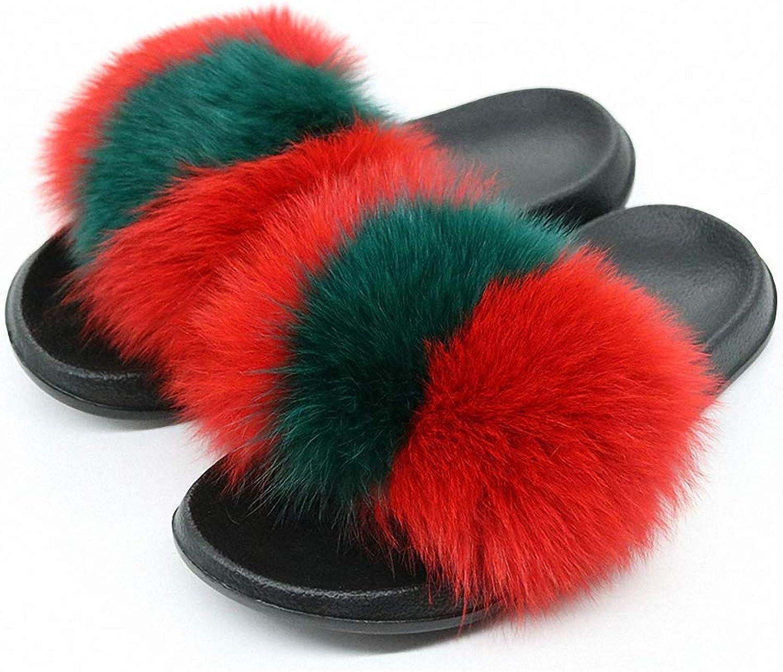Womens Summer Fox Fur Slippers Real Fox Hair Slides Female Furry Indoor Flip Flops Casual Beach Sandals Fluffy Plush shoes