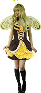 Yummy Bee Womens Bumble Bee Costume + Stockings Wings Hat Plus Size 2-16