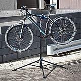 ECD Germany Soporte de Reparación de Bicicletas de Acero Caballete para Taller Giratorio 360° Altura Ajustable para Bici de hasta 50kg Base de Trípode de 4 Patas con Bandeja de Herramientas Magnética