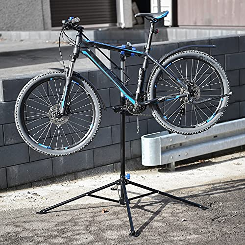 ECD Germany Cavalletto di Riparazioni per Bici Regolabile in Altezza Supporto per Montaggio/Manutenzione in Acciaio Ruotabile a 360° e per Tutti i Tipi di Biciclette Fino a 50 kg Base a 4 Gambe
