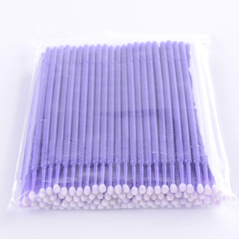 透けて見える幽霊ステープルPLATINA LASH マイクロスティック 100本入り マイクロブラシ 使い捨て極細綿棒アプリケーター まつげエクステ用 (Regular/Purple)