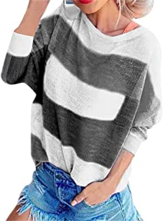 MEEYA Stripe Patchwork O-Neck Long Sleeve Loose Sweaters Women Casual Knitting Tops Blouse(7 Color, S-2XL)