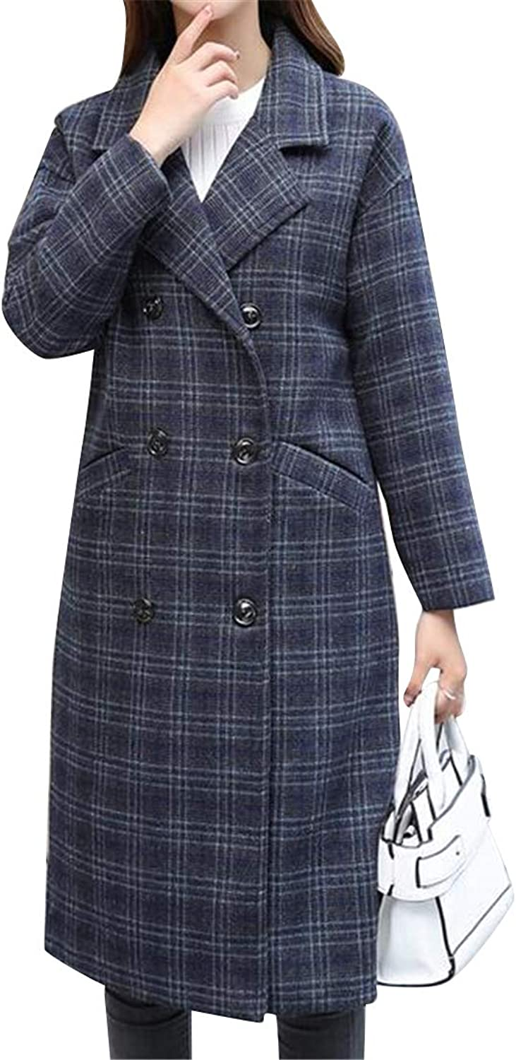 Suncolor8 Womens Warm Check Wool Wlend Double Breasted Trench Pea Coat Jacket Overcoat