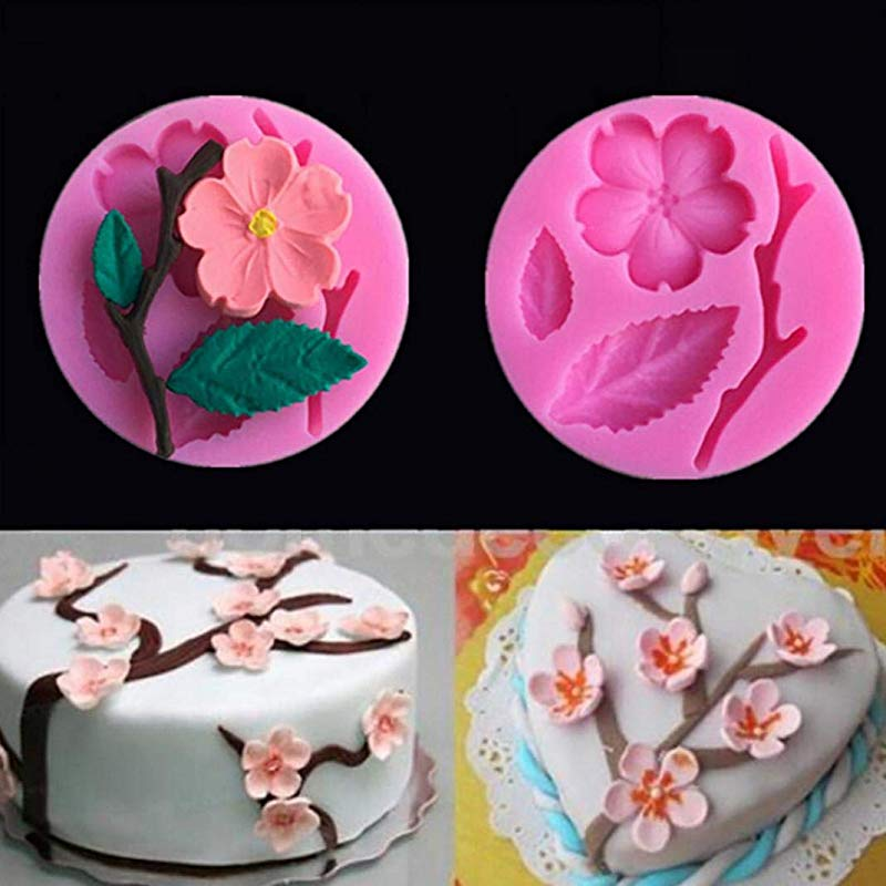 AT27clekca Cake Mold Baking Accessories Silicone Plum Blossom Mold DIY Fondant Cake Chocolate Clay Mould Decorating Tool Pink