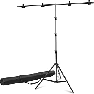 Youngerfoto Photography Backdrop Stand Kit, 6.5x8.5ft T-Shape Background Stand with 4 Backdrop Clips & Carrying Bag for Ph...