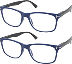 TBOC Gafas de Lectura Presbicia Vista Cansada - [Pack 2 Unidades] Graduadas +1.50 Dioptrías Montura de Pasta Azul Patillas Negras de Diseño Moda Hombre Mujer Unisex Lentes Aumento Leer Ver Cerca