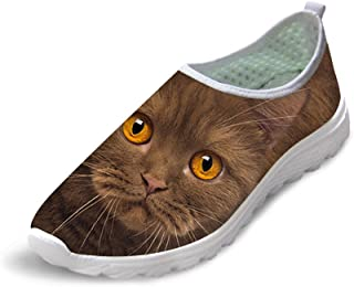 FOR U DESIGNS Unisex Stylish Cute Cat Dog Owl Animal Pattern Mesh Comfortable Slip On Running Shoes