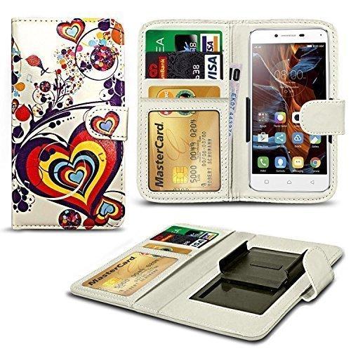 N4U ONLINE® Verschiedene Muster Clip Serie Kunstleder Brieftasche Hülle für Oukitel K4000 Pro - Herz