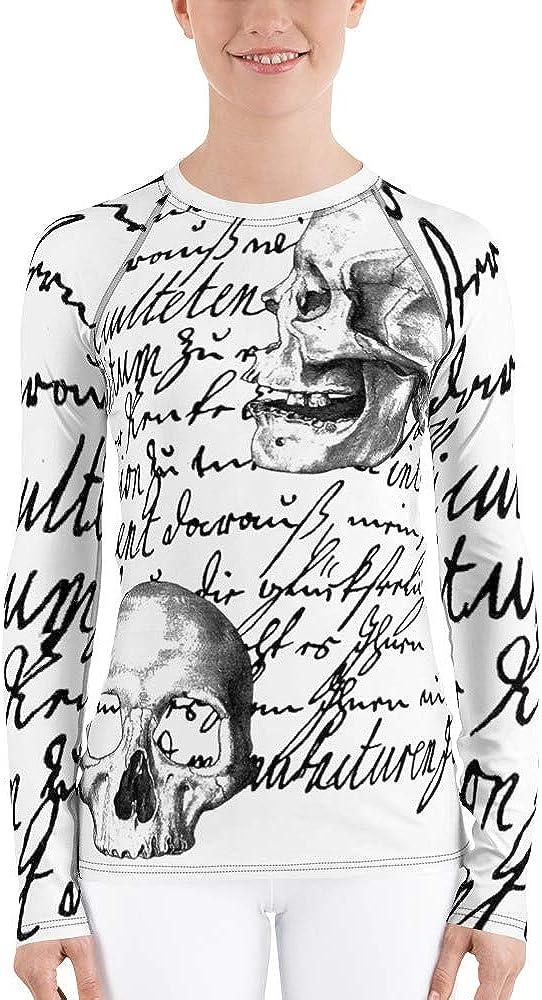 Frox Apparel Design Love Letter Skull Women's Rash Guard by Ross Farrell