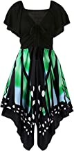 Plus Size Womens Butterfly Dress V Neck Short Sleeve Summer Causal Swing Midi Dresses