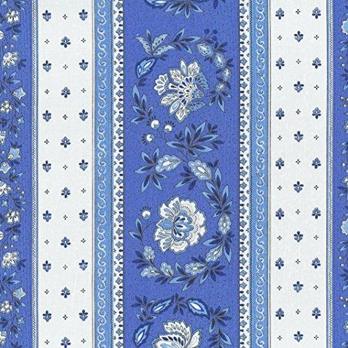 Stoff Meterware Baumwolle - Provençal Streifen Blumenstoff (Französisches Blau & Kalkweiß)   100% Baumwolle Stoff   Stoffbreite: 160 cm (pro Laufmeter)*