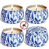 YIHAN Citronella Candles Outdoor and Indoor, 4.4oz Scented Candles Pure Soy Wax Portable Travel Tin Candle for Stress Relief, 4-Pack Gift Set