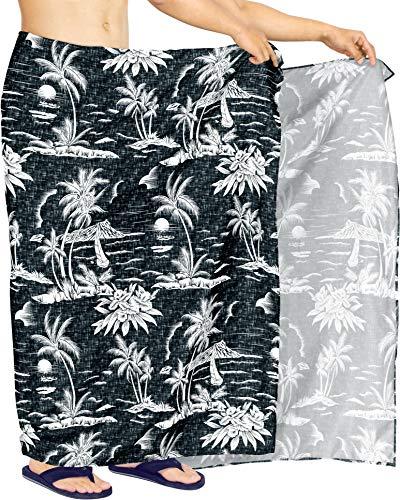 HAPPY BAY Frauen Badeanzug Strandrock Hawaii Sarong Wickeln Schwarz_AA17 78