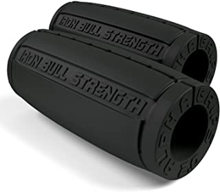 Iron Bull Strength Alpha Grips 2.0 - Extreme Arm Blaster - Best Dumbbell and Barbell Thick Bar Adapter