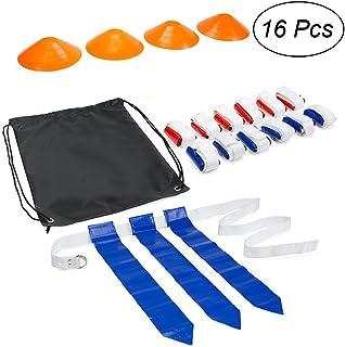 VORCOOL 16Pcs Flag Football Set 12ceintures 4Cônes accessoires Football d'entraînement pour joueur de football