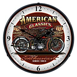 Collectable Sign and Clock SM1103302 14 American Classic Bike Lighted Clock