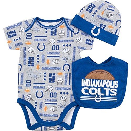 NFL Indianapolis Colts Unisex-Baby Bodysuit, Bib & Cap Set, Gray, 3-6 Months
