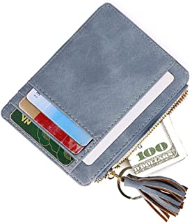 AnnabelZ Card Case Holder Slim Front Pocket Wallet Leather Coin Change Purse Keychain for Women