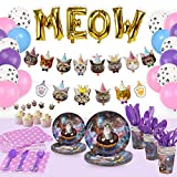 168 Pcs Cat Party Supplies Plates Cutlery Balloons Birthday Decorations Set, Kitten Party Disposable Dinnerware Plates Napkins Cups Cutlery Cat Birthday Banner Cupcake Toppers Balloons Pet Paw Kids Bday Decor- Serves 16