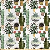Cactus petrol algodón popelín fuera tejido plano cactus hilco 50 cm