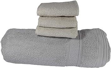 منشفة حمام قطنية كبيرة للغاية 90 × 160 سم بيضاء مدخنة، 3 مناشف لليد، منشفة استحمام كبيرة الحجم سريعة الجفاف (4 قطع)