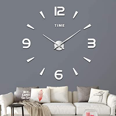 DIY Mirror 3D Roman Numbers Wall Clock Decal Home Decor Art Mural Stickers j