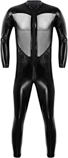 Men's One-Piece Faux Leather Mesh Wrestling Singlet Leotard Bodysuit Jumpsuit Clubwear
