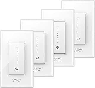 Gosund Smart Dimmer Switch, Wifi Smart Light Switch Works with Alexa and Google Home, 4 Pack, Single Pole, Remote Control, No Hub Required, ETL and FCC Listed