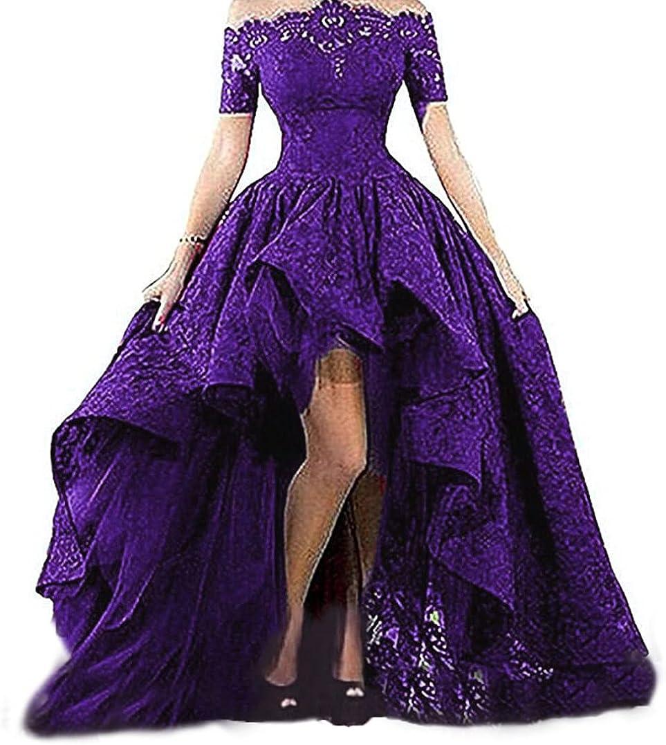 Diandiai Women's Off Cheap sale The Shoulder Lace Hi-Lo Prom Dress