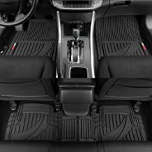 Motor Trend OF-793-BK Black FlexTough Advanced Performance Mats-3pc Rubber Floor Mats for Car SUV Auto All Weather Plus-2 Front & Rear Liner