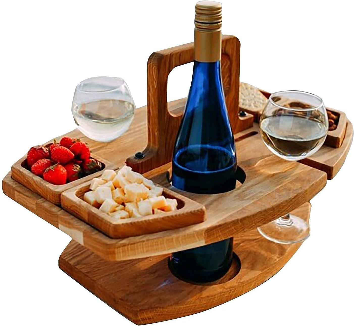 MWXFYWW Mesa de Vino Plegable para Acampar al Aire Libre, Mesa de Vino de Picnic de Madera, Mesa de Playa Portátil de Lujo, Soporte para Copas de Vino para Viajes Jardín Pequeña