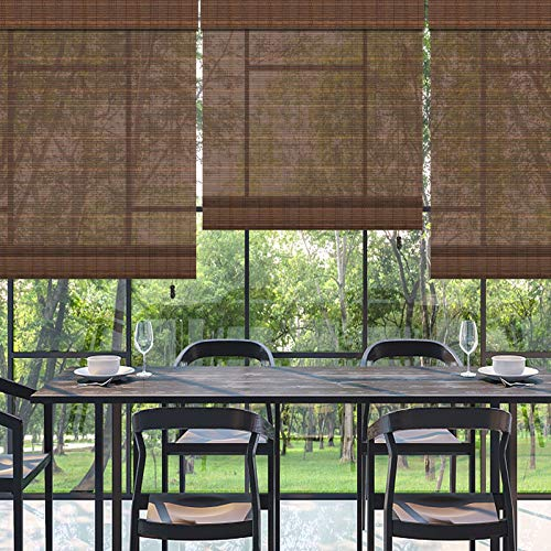 PASSENGER PIGEON Bamboo Outdoor Roller Shades, Water Proof UV Protection Light Filtering Wood Roman Shades, Roll Up Natural Bamboo Blinds for Windows, Doors, Porch, Balcony, Deck, Pergola, Bamboo 12