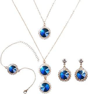 Elegant Jewelry Set for Women 18k Gold Necklace Earrings Bracelets Set Round Cubic Zirconia Crystal Bridal Pendant for Wedding Bride Bridesmaids…