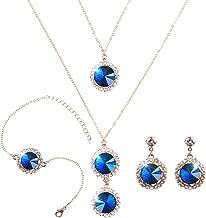 ELFTUNE Elegant Jewelry Set for Women 18k Gold Necklace Earrings Bracelets Set Round Cubic Zirconia Crystal Bridal Pendant for Wedding Bride Bridesmaids…