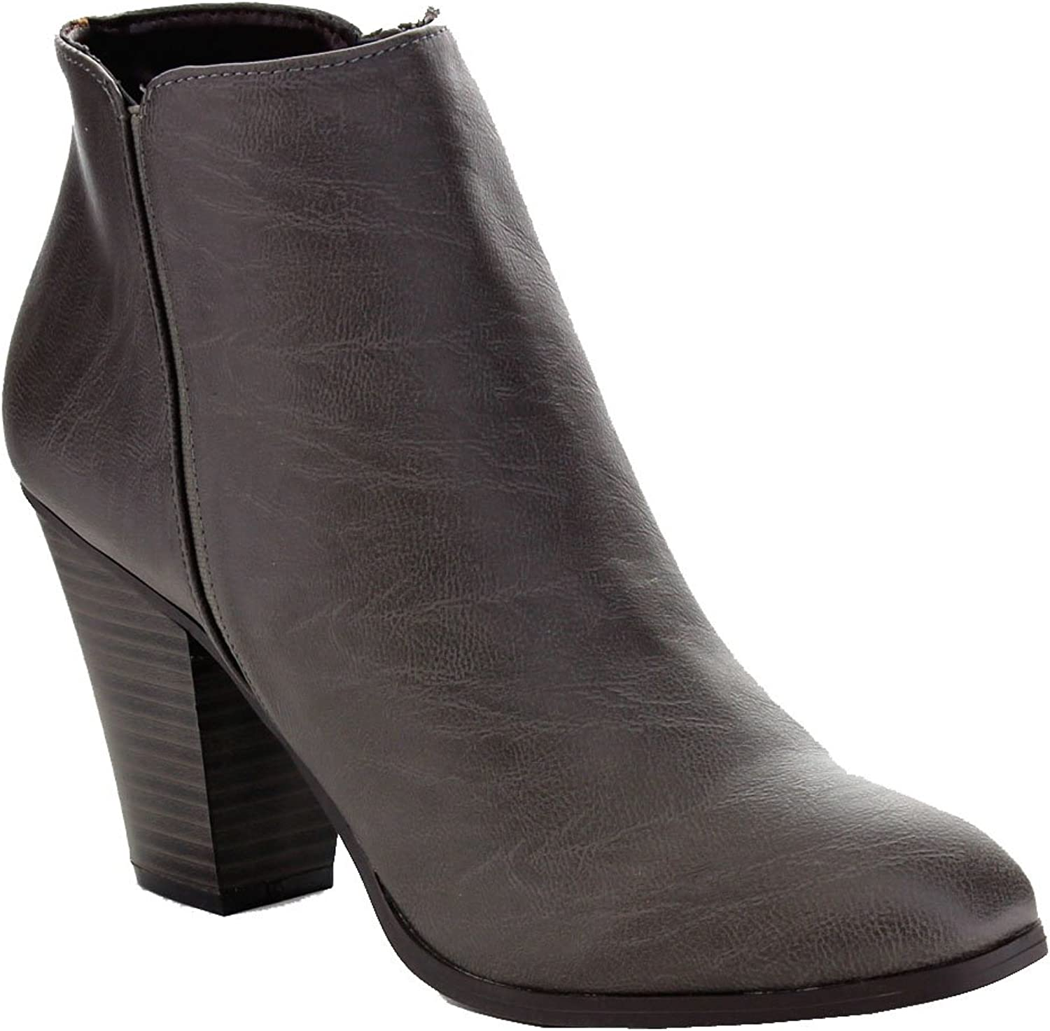 City Classified Tevay-H Leatherette Almond Toe Stack Heel Ankle Bootie - Stone