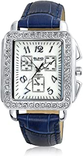 Rectangular White Crystal Dial Fashion Deco Style Watch for Women Faux Navy Blue Crocodile Leather Band Steel Back