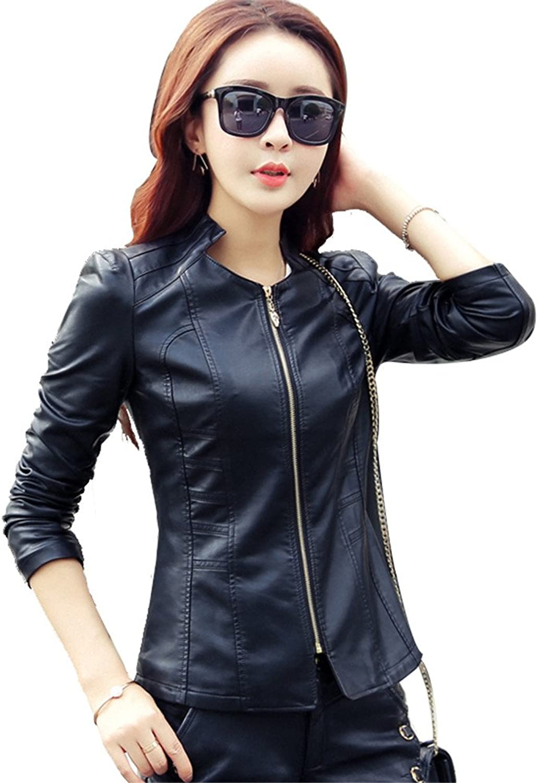 JZOEOEU Women's Juniors Fashion Leather Jacket 1 Button Slim Work Office Blazer