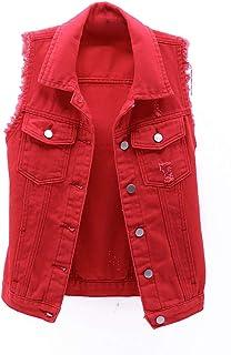 Inlefen Women's Gilets Denim Vest Casual Vest for Autumn Winter