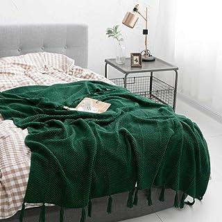 NA MYBH decoración del hogar algodón Tejido Manta de Lana Color sólido Aire Acondicionado Manta Siesta Manta sofá Manta Verde Oscuro 130 * 170 cm