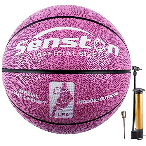 Senston Basketball Größe 6 Fluoreszenz Kunstleder Basketbälle Ball für Mädchen und Frau